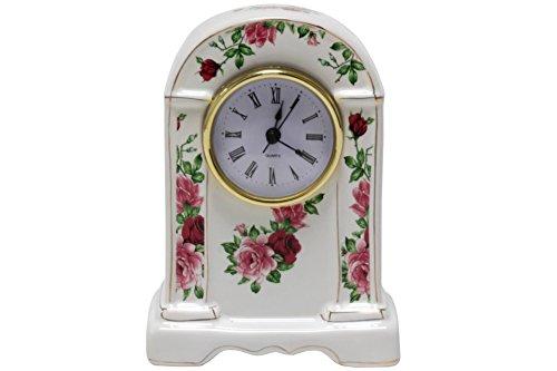 Kleine Kaminuhr Porzellan Rose Uhr Standuhr Tischuhr Batteri