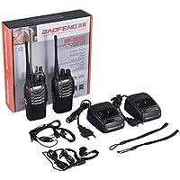 Detectoy 2 UNIDS/Set EU VHF/UHF FM Transceptor 400-470 MHz Walkie-Talkie Linterna 5 W 16Ch con Auriculares Radio de 2 vías para Baofeng BF-888S