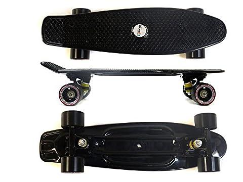 MAXOfit® Mini Cruiser Retro Skateboard Louisiana schwarz No. 63, 55cm (22 Zoll) aus Kunststoff und