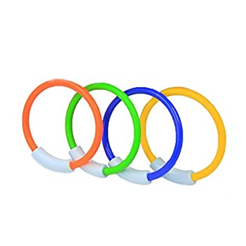 Wotow Dive Rings, 4 Piece Plastic Diving Rings Underwater Swimming Toy Rings Dive Training Gift For Boy Girl Students Recreation Play Summer Pool Toy Assorted Colors Dive Rings Kids Pool Water Game (4 Pcs) 0