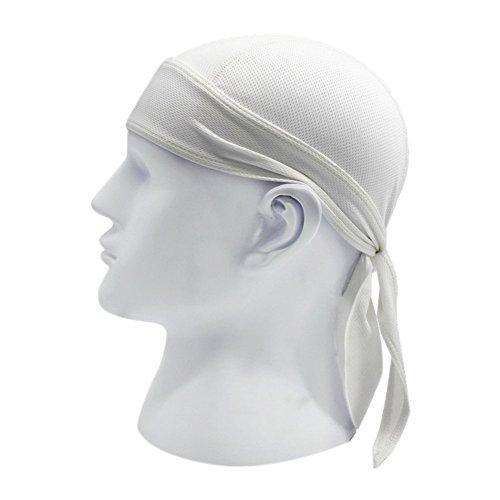 Brave Pioneer Bandana Kopftuch UV Schutz Biker Tuch Bandana Cap Kappe Fahrrad Mütze Piratentuch Beach Kopftuch Baumwolle Unisex Körpererziehung Erwachsene (weiß) (Weißes Tuch Cap)