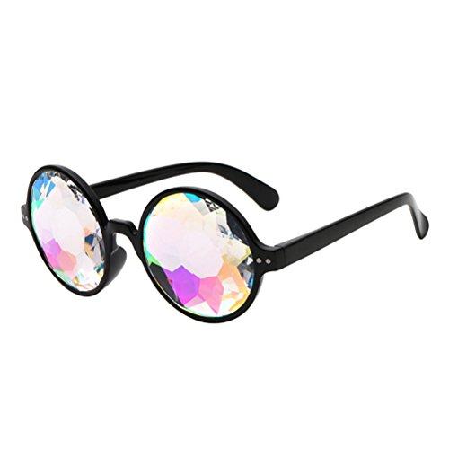 BESTOYARD Kaleidoskop Brille, Regenbogen Sonnenbrille Festivals Rave Brille Karneval Kostüm Zubehör (Schwarzer Rahmen ohne Löcher)