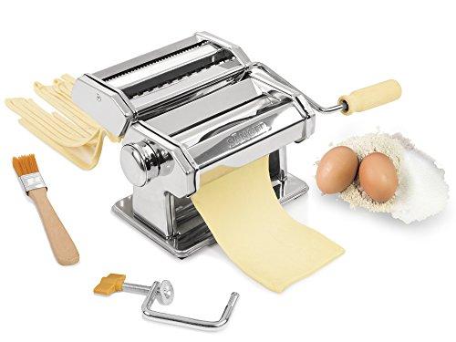 Sänger Nudelmaschine aus Edelstahl | Pastamaschine mit verschiedenen Aufsätzen | Pastamaker mit verstellbarem Walzwerk mit 9 verschiedenen Stärken | Mit beiligendem Reinigungspinsel