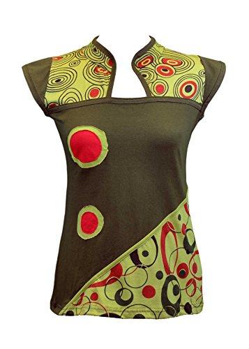 DONNE mezza manica Top con il disegno del collare cinese Verde