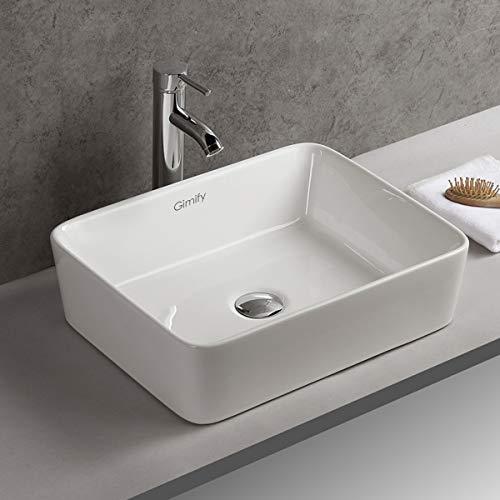 Gimify Vasque à Poser Carré en Céramique Lavabo Lave-Mains Évier pour Salle de Bain Toilettes, 48x38x13cm