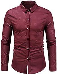 BUSIM Men's Long Sleeved Shirt Autumn Winter Fashion Casual Retro Dark Print Trend Personality T-Shirt Top Slim...