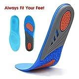 HLYOON GEL Sport komfort schneidbare Einlegesohlen für Stoßdämpfung, Fersenschutz und Fußbogenstütze, entlasten Fußschmerzen und Fasciitis(Männer EUR 40-46.5)
