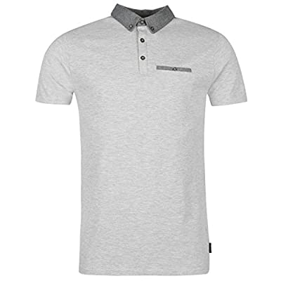 Firetrap Mens Denim Contrast Polo Tee Shirt Top Short Sleeve Chest Pocket Cotton