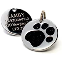 25mm Paw Shaped BLACK Glitter Pet ID Tag with FREE ENGRAVED TEXT by Busy Bits