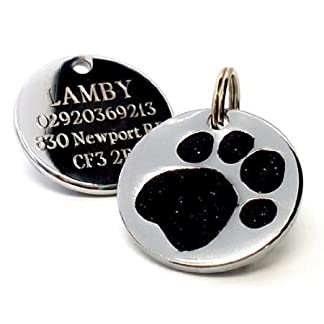 25mm Paw Shaped BLACK Glitter Pet ID Tag with FREE ENGRAVED TEXT by Busy Bits 7