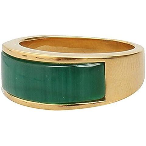 PAURO Uomo Acciaio Inossidabile Pietra Occhi di Gatto Comfort Fit Fede Nuziale Smeraldo Verde, Oro E Argento