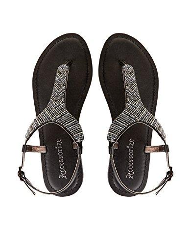 Accessorize Sandales ornées de perles Kali - Femme Noir