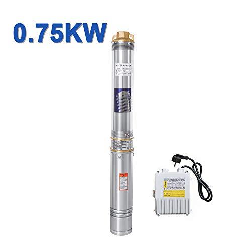 Hengda 0.75kW/1hp Tiefbrunnenpumpe bis 4.000 l/h Fördermenge Edelstahl Brunnenpumpe Sandverträglich Tauchdruckpumpe 6.7 bar max
