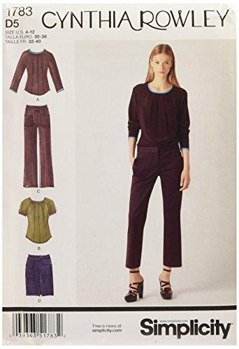 Simplicity Schnittmuster 1783.D5 4-12 für Damen-Kleider aus der Cynthia Rowley Kollektion, für Damen (Seam Pencil-skirt)
