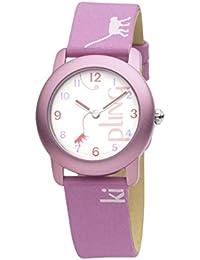 Diseño de Mono Kipling Fun - rosa de equitación para niña reloj infantil de cuarzo con esfera analógica Blanca y Rosa correa de piel K9400342