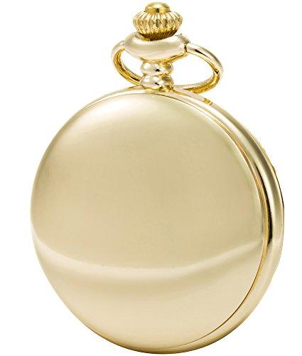 Sewor Modische Quarz-Taschenuhr mit doppelter Kette aus Metall und Leder, glatte Oberfläche, Muschel-Zifferblatt, japanisches Quarzuhrwerk ... (Gold)
