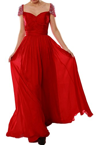 MACloth Women Cap Sleeves Long Ball Gown Evening Formal Prom Dress Wedding Party Burgunderrot
