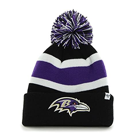 NFL Baltimore Ravens '47 Brand Breakaway Cuff Knit Hat with Pom, Black, One Size