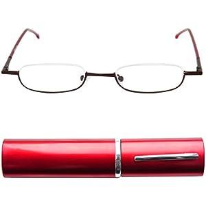 Leichte Metall Mini Halbbrille Lesebrille | Edelstahl Rahmen | mit GRATIS Slim-Fit Alu Etui | Lesehilfe für Damen und Herren von Mini Brille