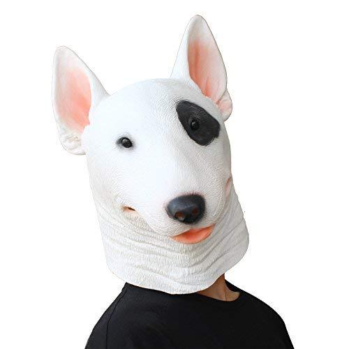 PartyCostume - Bull Terrier Maske - Halloween Kostüm Latex Maske Tierische Hund