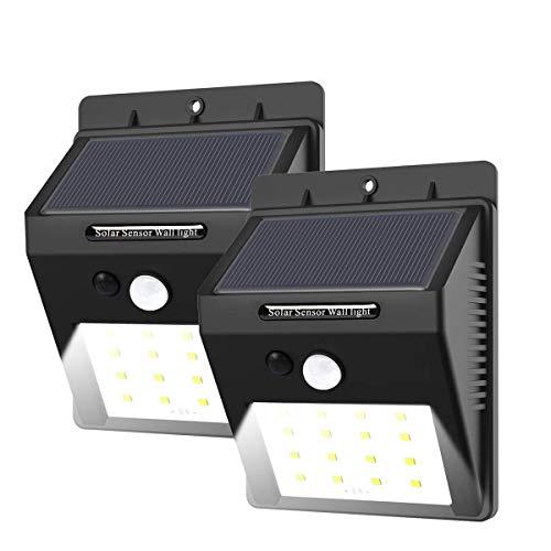 2 Stück 16 LED Solarleuchte mit Bewegungsmelder, E-tro Wasserdicht Solar Licht Solar Wandleuchte,...