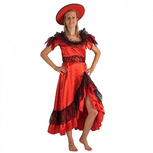 Krause & Sohn Kostüm Mrs. Andalusia Kleid rot/schwarz gepunktet Spanierin Flamenco Argentinien (Rote Und Schwarze Tanzkostüme)