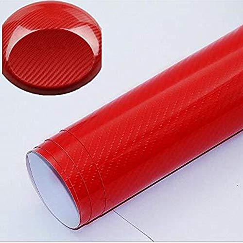 6D Carbon Folie, Selbstklebende Autofolie, Kohlefaseraufkleber 300x30cm, Wasserfester Aufkleber, Blasenfreier Kohlefaseraufkleber (Rot,50x400cm)