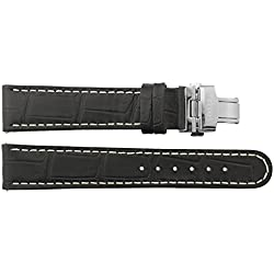 Watch Strap in Black Calf leather - 20 - Alligator grain - buckle in Silver stainless steel - B20018