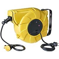 Brennenstuhl Enrouleur de câble électrique automatique (20 m + 1,5 m), tambour automatique avec 1 prolongateur à clapet & 1 fiche, jaune, Quantité : 1