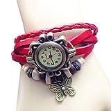 Andoer Women Fashion Vintage Handmade Wrist Watch Girl Exotic Leather Strap Quartz Watch