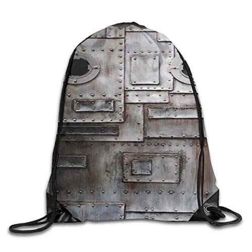 EELKKO Drawstring Backpack Gym Bags Storage Backpack, Rusty Stylized Iron Porthole Grunge Scratched Steel Factory Entrance Retro Image,Deluxe Bundle Backpack Outdoor Sports Portable Daypack -