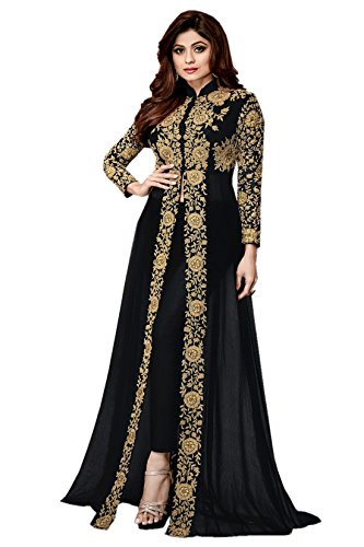 A and V Fashion Women's Georgette Embroidered Long Anarkali Suit(Black_Free Size)