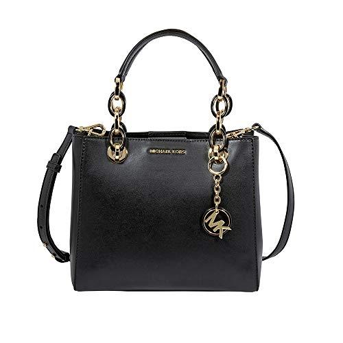 Michael Kors Cynthia elegant schwarzem Leder Schultertasche Tasche Black Leather