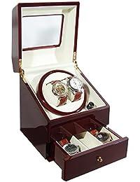 CKB Ltd BURGUNDY DELUXE EURO BOURGOGNE Automatic Watch Winder Remontoir de Montre avec Double Boîte à montres avec tirage - 4 Modes de minuterie premium moteur silencieux - CKBDRAW73-EURO