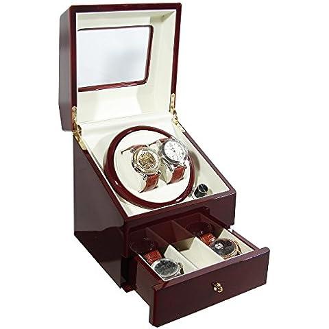 ka073, colore: bordeaux lucido Deluxe Orologio automatico Winder con doppio orologio scatola con cassetto–4Timer Modalità (Rolex Omega Orologi Omega Watch)