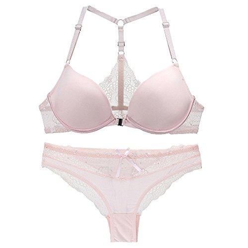 F.lashes Damen Triangel BH Lace Dessous Set Slip Nahtlose Schönheit Rücken Unterwäsche Push Up Bustier Max Groß