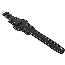 Minott watch strap | Replacement Watch Case Black Leather Band with Unterlage 29784, Bridge Width: 18mm