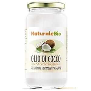 Olio di Cocco Biologico Extra Vergine 1000 ml. Crudo e Spremuto a Freddo. 100% Organico, Naturale e Puro. Bio Nativo e non Raffinato. Paese di Origine Sri Lanka. NATURALEBIO 5 spesavip