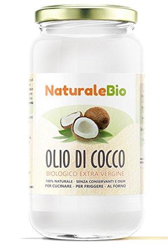 Olio di cocco biologico extra vergine 1000ml | crudo e spremuto a freddo | organico e puro al 100% | ideale per capelli, per il corpo e ad uso alimentare | olio di cocco bio nativo e non raffinato 1l | naturalebio