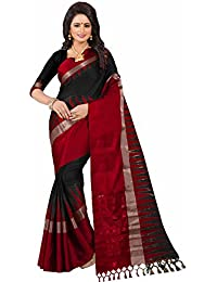 Saree Mall Women's Cotton Silk Saree with Unstitched Blouse Piece (Black_KVS34005)