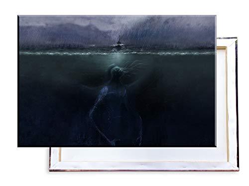 Cthulhu unter dem Meer - 100x70 cm - Bilder & Kunstdrucke fertig auf Leinwand aufgespannt und in erstklassiger Druckqualität ()