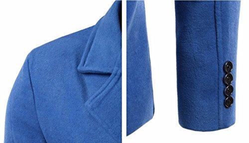 QIYUN.Z Laine À Double Boutonnage De Mode Manteau De Pois Vêtements Mince Pardessus Les Hommes Bleu