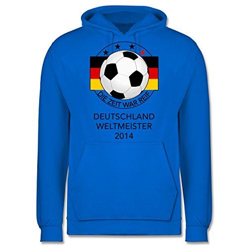 Shirtracer Fußball - Deutschland Weltmeister 2014 - Die Zeit war reif - L - Himmelblau - JH001 - Herren Hoodie (2014 Mann Air Max)