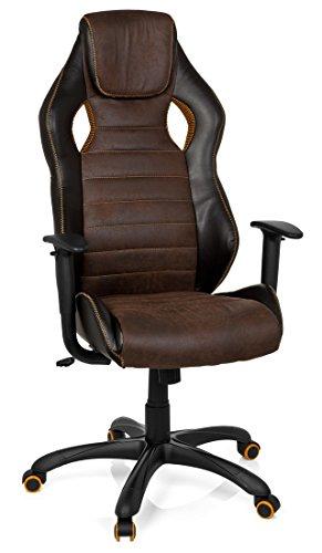 411bFEkRMcL - hjh OFFICE 621880 RACER VINTAGE IV - Silla Gaming y oficina,  piel sintética marrón