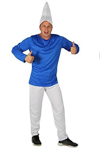 Foxxeo Blauer Zwerg Kostüm mit weißer Mütze für Herren zu Fasching und Karneval Zwergenkostüm Herrenkostüm Größe L (Ein Von Einer Art Märchen Kostüme)