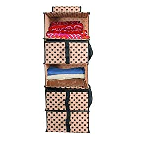 PrettyKrafts 5 Shelf Hanging Organiser, Wardrobe Shelves, Hanging Closet Organizer with 3 Drawers & Side Pockets, Polka Beige