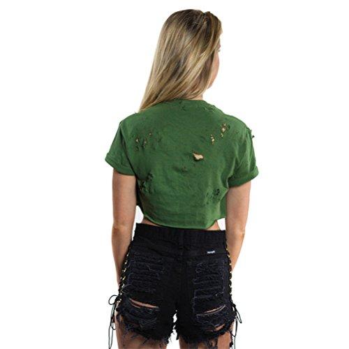 Frauen reizvolle Art und Weise mit hohen Taille Side Schnürsystem Kreuz zerstört Ripped Holes Jeans-Shorts Schwarz