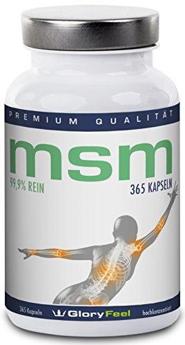 MSM Kapseln - 365 Stück Organischer MSM Schwefel (Methylsulphonylmethan) - MSM Pulver - 5-6 Monatsvorrat - Made in Germany Test