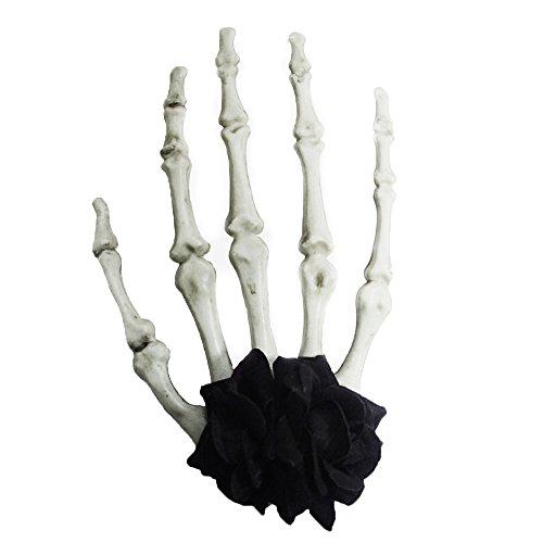 Cabello Clip Mano de Esqueleto Figura de con flor negra con Morbid Gótico Broche Wgt