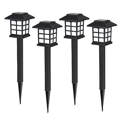 MiniSun Lot de Quatre Bornes Solaires à LED Puissantes Lanternes